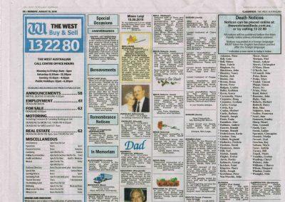 Remembrance Notice for John Livingstone Bennett and James Ross Duperouzel, The West Australian Newspaper, 15 August 2016