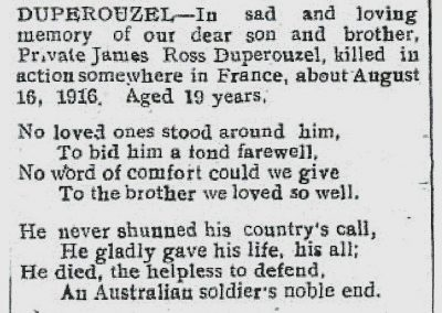 In Memoriam Pte. James Ross Duperouzel - Avon Gazette & York Times - 17 August 1923