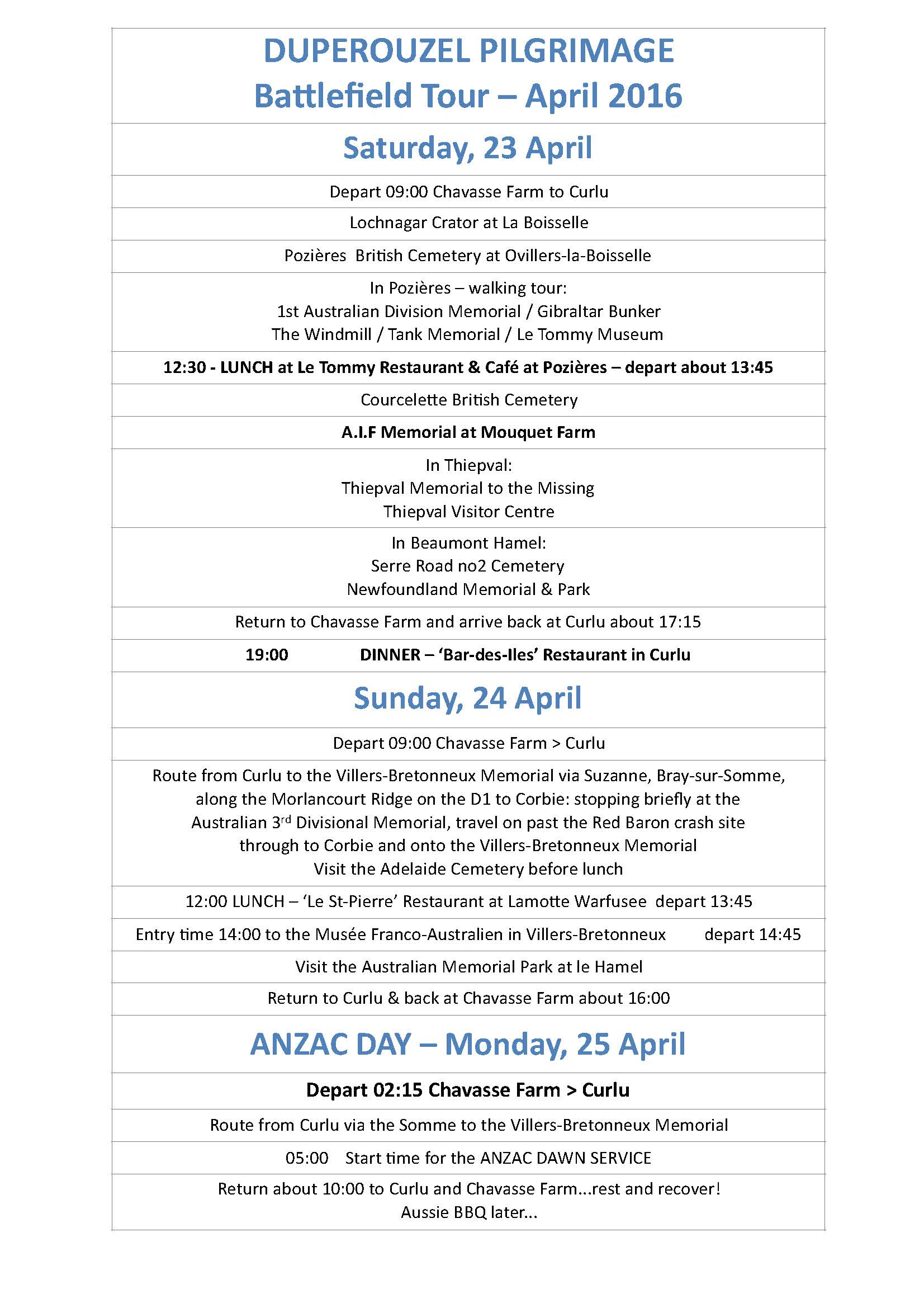 Itinerary March Battlefield Tour Somme Anzac 2016