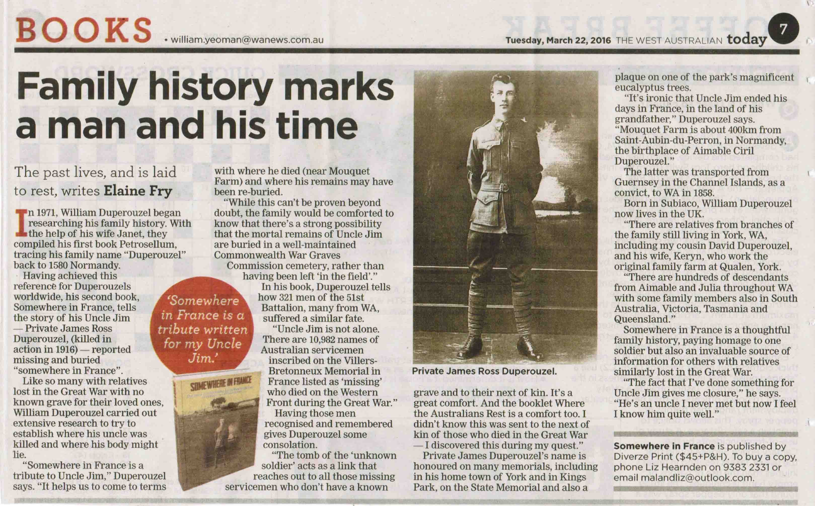 Reviews  William Duperouzel Somewhere In France Book Review Pte James Ross Duperouzel  The West  Australian Newspaper  March