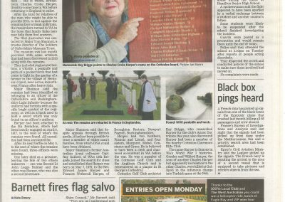 Story from The West Australian newspaper 2 June 2016 re naming WW1 soldier-2