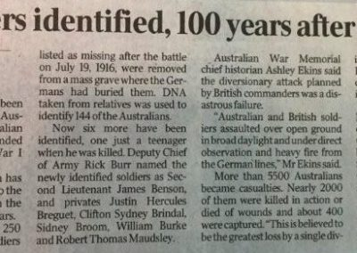 The Australian newspaper 28 May 2016 Six Diggers idebtified Fromelles IMG_1268