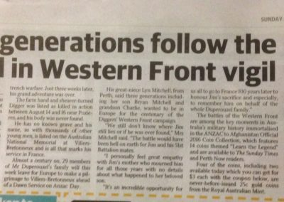 Three generations follow the legend in Western Front vigil Sunday Times April 17 2016