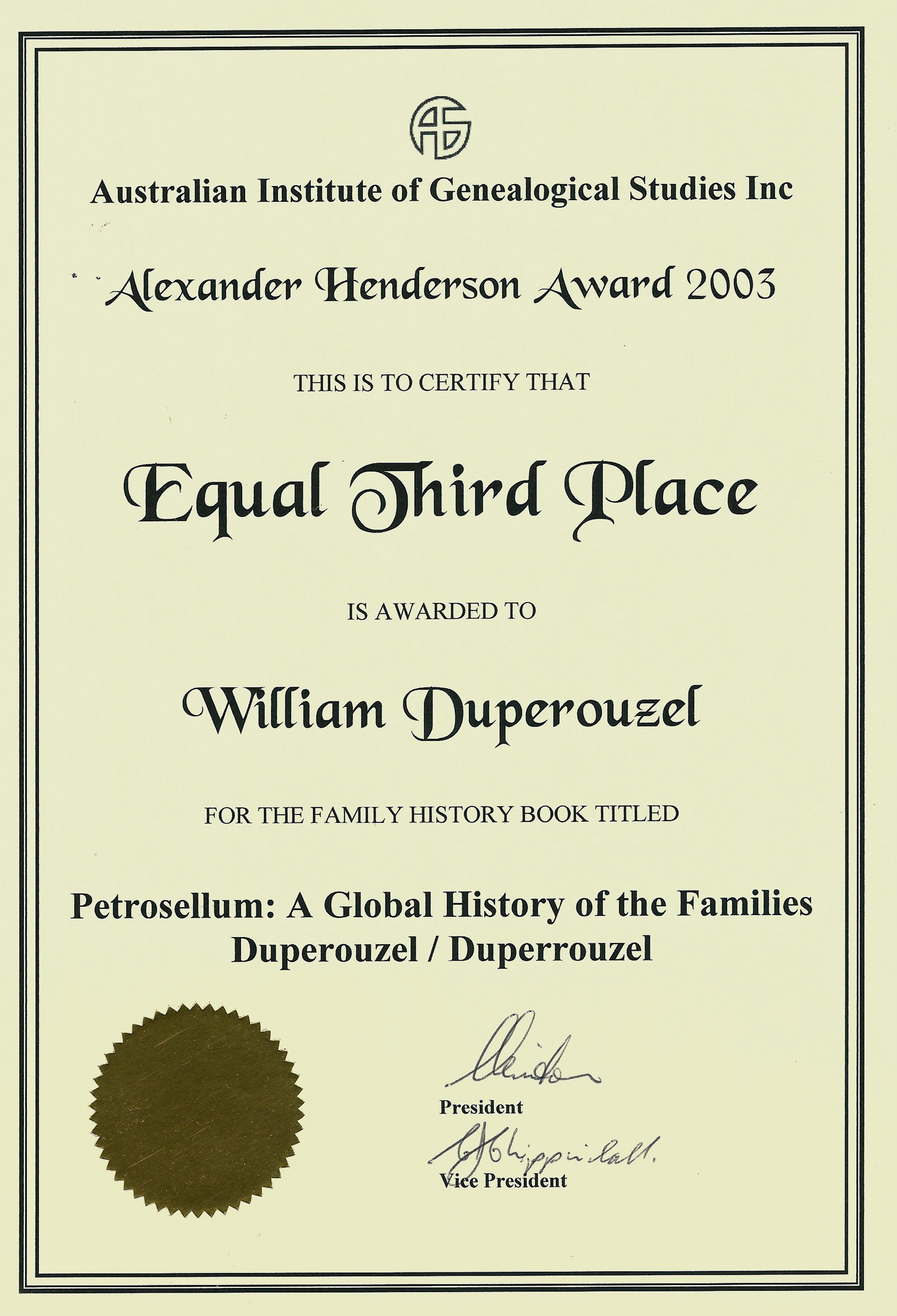 The Alexander Henderson Award
