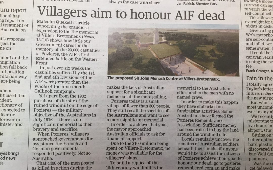 Villages aim to honour AIF dead 21 October 2016 – The West Australian Newspaper
