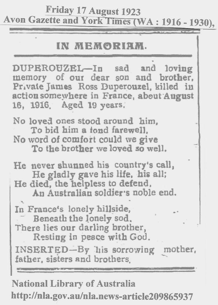 Tribute to Uncle Jim 23 August 1923