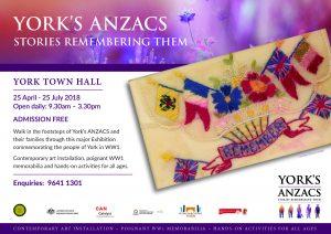 ANZAC Poster SOY1 Yorks Anzac Exhibition April 2018