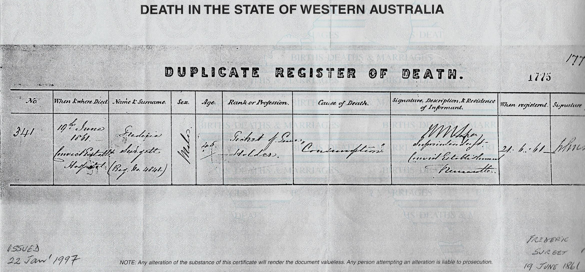 Death certificate Frederic Surget 19 June 1861