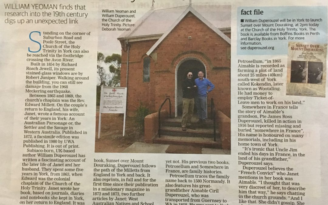Author's family ties to a WA classic – Newpaper Article